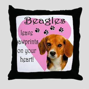 Beagle Pawprints 2 Throw Pillow