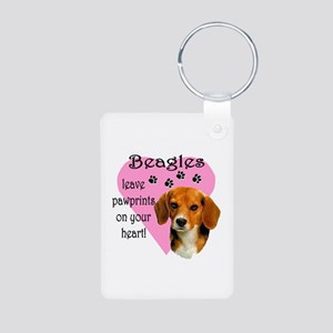 Beagle Pawprints 2 Aluminum Photo Keychain