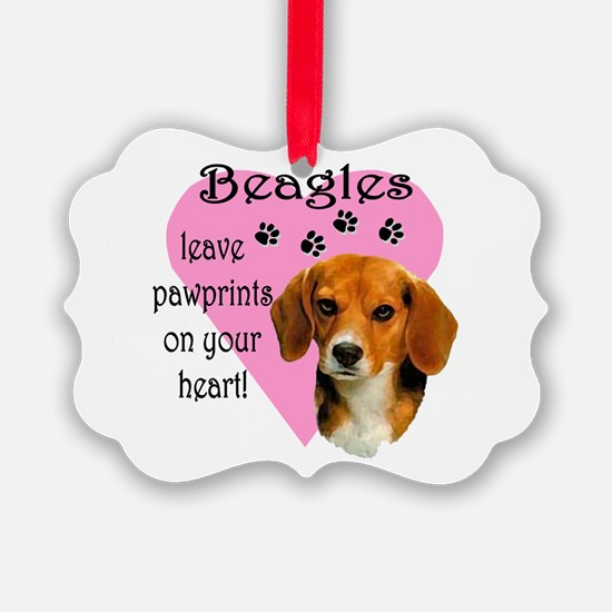 Beagle Pawprints 2 Ornament