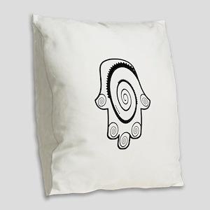 Hamsa Big Swirl Burlap Throw Pillow