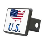 US flag map e1 Rectangular Hitch Cover