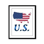 US flag map e1 Framed Panel Print