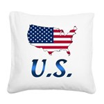 US flag map e1 Square Canvas Pillow
