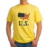 US flag map e1 Yellow T-Shirt