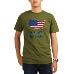US flag map e1 Organic Men's T-Shirt (dark)