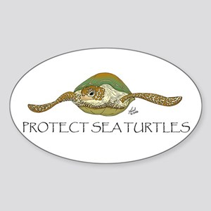 Sea Turtle Oval Sticker