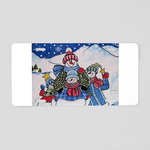 Happy Snowmen Aluminum License Plate