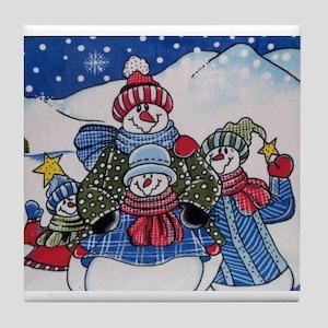 Happy Snowmen Tile Coaster