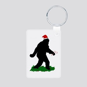 Christmas Squatchin Aluminum Photo Keychain