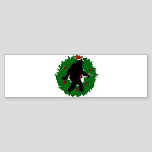 Sasquatch Christmas Wreath Sticker (Bumper)