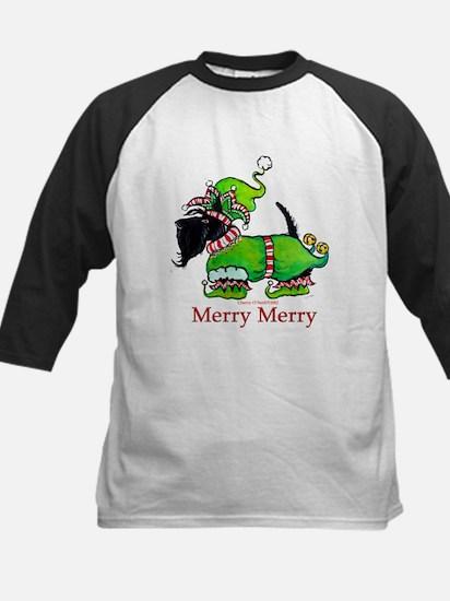 Merry Merry Scottish Terrier Kids Baseball Jersey