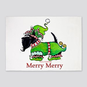 Merry Merry Scottish Terrier 5'x7'Area Rug