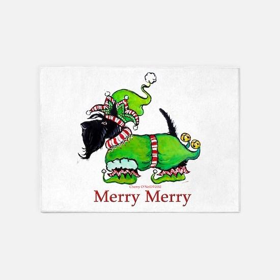 Merry Merry Scottish Terrier 5'x7'Area Rug