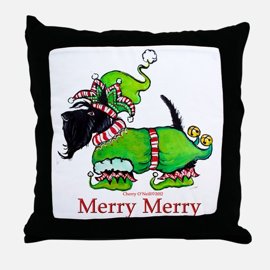 Merry Merry Scottish Terrier Throw Pillow