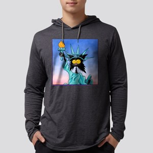 funny cat statue of liberty_tile Mens Hooded Shirt