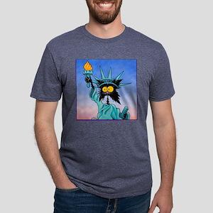 funny cat statue of liberty Mens Tri-blend T-Shirt