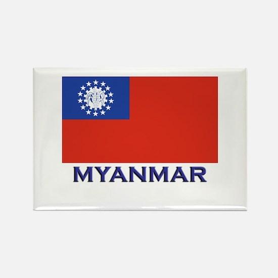 Myanmar Flag Gear Rectangle Magnet