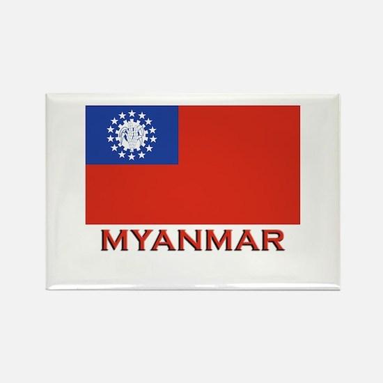 Myanmar Flag Merchandise Rectangle Magnet