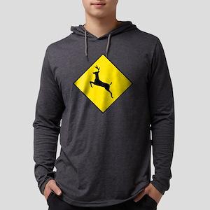 Caution---Deer-Crossing-2 Mens Hooded Shirt