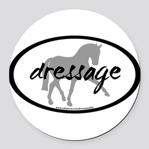 dressage sidepass grey with text Round Car Mag