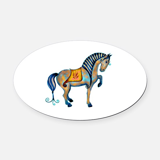 Tang Horse Two Oval Car Magnet