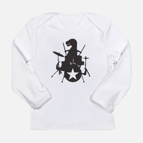 T-Rex Playing the Drums Long Sleeve Infant T-Shirt