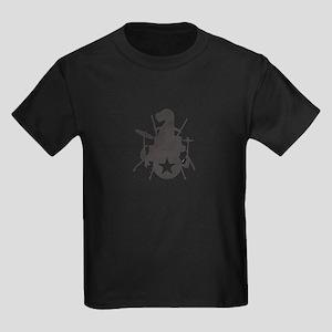 T-Rex Playing the Drums Kids Dark T-Shirt