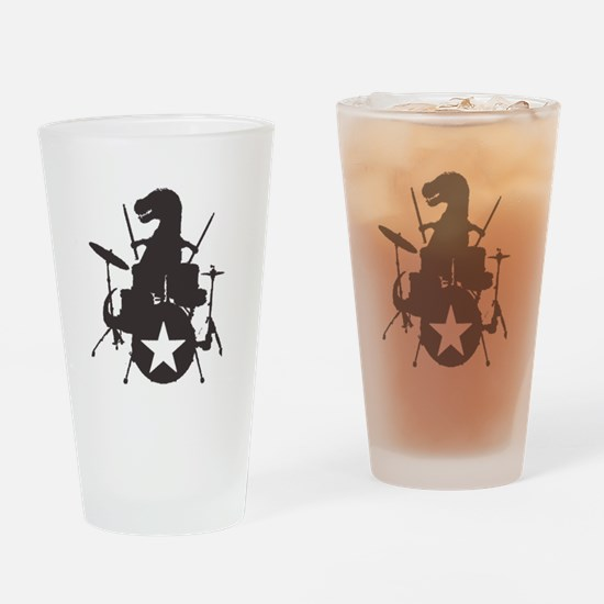 T-Rex Playing the Drums Drinking Glass