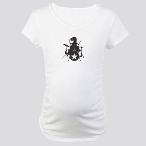 T-Rex Playing the Drums Maternity T-Shirt
