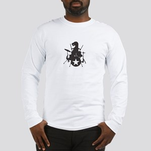 T-Rex Playing the Drums Long Sleeve T-Shirt