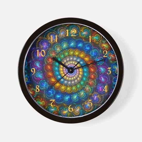 Fractal Spiral Shell Beads Wall Clock
