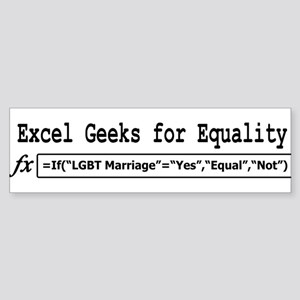 Excel Geeks for Equality Bumper Sticker