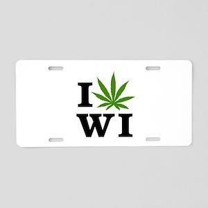 I Love Cannabis Wisconsin Aluminum License Plate