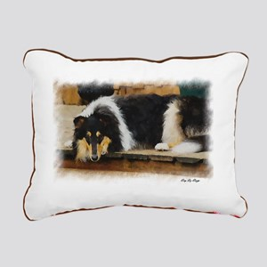 Tri Color Collie Rectangular Canvas Pillow