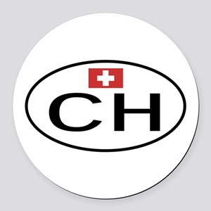 CH Switzerland Round Car Magnet