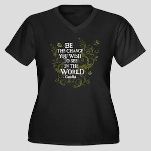 Be the Change - Green Vine - White Women's Plus Si
