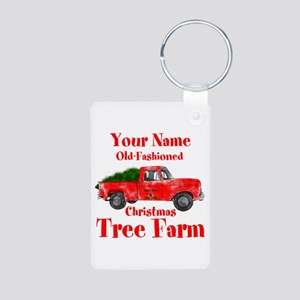 Custom Tree Farm Aluminum Photo Keychain