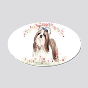 Shih Tzu Flowers 20x12 Oval Wall Decal