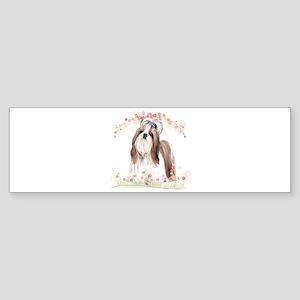 Shih Tzu Flowers Sticker (Bumper)