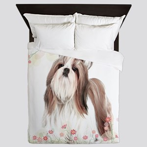 Shih Tzu Flowers Queen Duvet