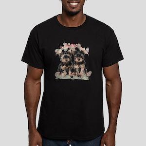 Yorkie Flowers Men's Fitted T-Shirt (dark)