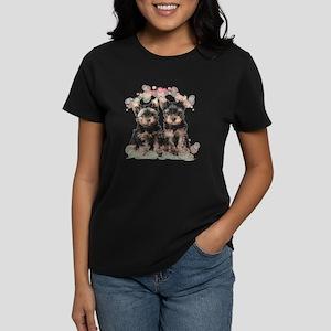 Yorkie Flowers Women's Dark T-Shirt