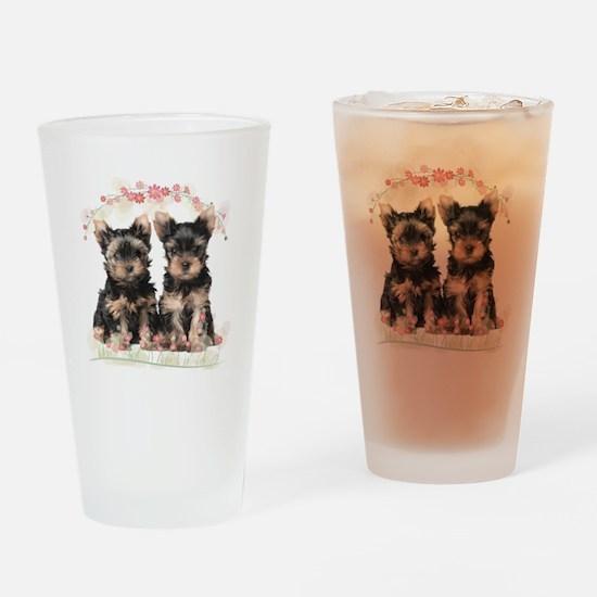 Yorkie Flowers Drinking Glass