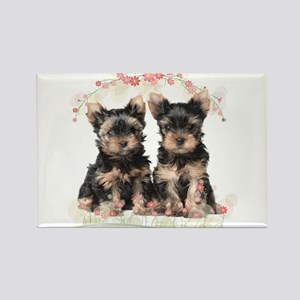 Yorkie Flowers Rectangle Magnet