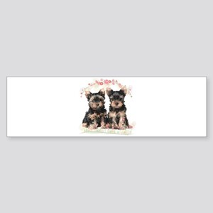 Yorkie Flowers Sticker (Bumper)