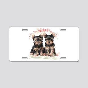 Yorkie Flowers Aluminum License Plate