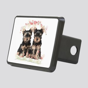 Yorkie Flowers Rectangular Hitch Cover