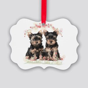 Yorkie Flowers Picture Ornament
