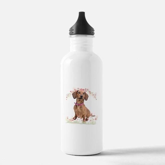 Dachshund Flowers Water Bottle
