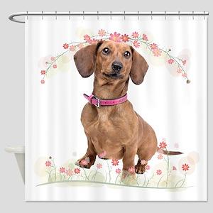 Dachshund Flowers Shower Curtain